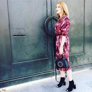NWOT Zara M Below Knee Puff Sleeve Jacquard Dress